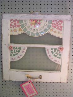 Repurpose an old window with broken china mosaic. Mosaic Tile Art, Mosaic Diy, Mosaic Crafts, Mosaic Projects, Stained Glass Projects, Mosaic Glass, Broken China Crafts, Broken China Jewelry, Window Art