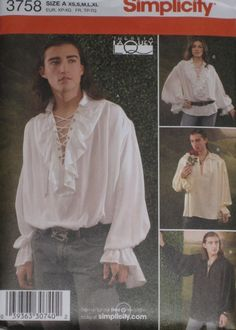 Pirate Poet Puffy Medieval Shirt Mens Simplicity 3758 Sewing Pattern size xs-xl