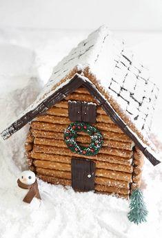 Christmas Desserts - Pretzel Log Cabin