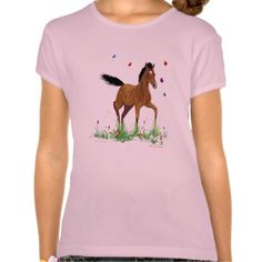 Foal+and+Butterflies+Girls+Baby+Doll+Fitted+Tee
