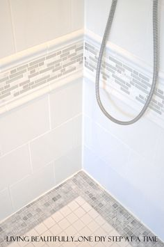 Bathroom: Shower tile ideas Use more expensive tiles as an accent with less expensive tiles to save money and add interest. Bathroom Renos, Laundry In Bathroom, Basement Bathroom, Bathroom Ideas, Shower Bathroom, Design Bathroom, Tile Design, Remodled Bathrooms, Bathroom Canvas