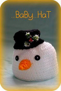Sněhuláček Baby Hats, Crochet Hats, Knitting Hats