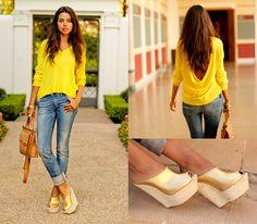 Mellow Yellow (by Annabelle Fleur) http://lookbook.nu/look/2405019-Bcbg-Sweater-Diesel-Jeans-Giuseppe-Zanotti-Sandals