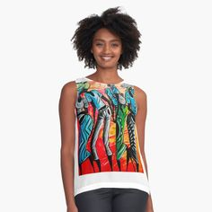 African Artwork, Artwork Design, Sell Your Art, Women's Clothing, Tank Man, Contrast, Chiffon, Clothes For Women, Printed