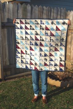 Flannel Triangle Baby Quilt by tinyhearts on Etsy