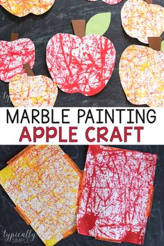 A cute and oh so fun to make apple craft that is perfect for back to school or fall! This marble painting art project is super easy to set up and requires only a few basic supples. #craftsforkids #kidspiration #backtoschoolcraft