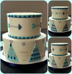 Navy, teal and gray teepee baby shower cake https://m.facebook.com/thesweetlifecustomcakes/