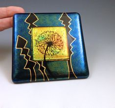 Dandelion Wall Tile Fused Glass Golden Red by LivingOnTheEtch