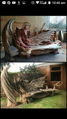 New Ideas Wood Sculpture Dragon Dragons, Unique Furniture, My Dream Home, Wood Art, Amazing Art, Wood Projects, Backyard, Patio, House Design