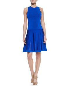 Trina Turk Fairfield Knit Jewel-Neck Dress