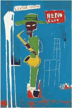 jareckiworld: Jean Michel Basquiat - In the Wings aka Lester Young (acrylic on canvas 1986)