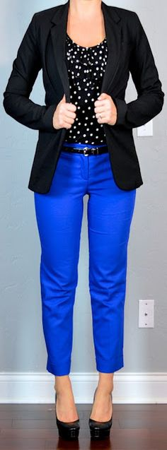 polka-dot top, black jacket, blue cropped pants (try with green pants, too!)