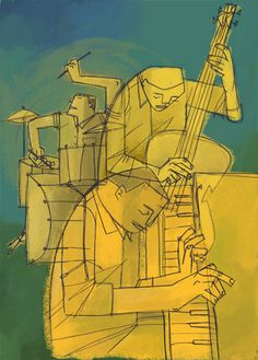 The Jazz Players illustration (source unknown) Music Illustration, Illustrations, Capas New Yorker, Jazz Poster, Jazz Art, Jazz Club, Music Artwork, Music Images, Jazz Musicians