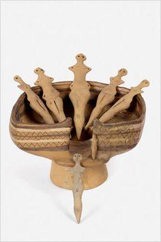 Architectural Model With Seven Figurines Fired Clay Cucuteni, Ghelăieşti, 3700-3500 BC Neamţ County Museum Complex, Piatra Neamţ: 12550-12552, 13209-13213