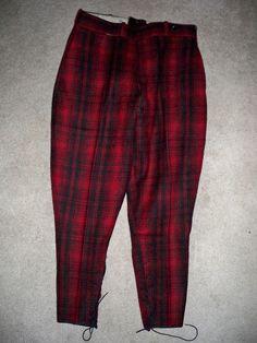 Vtg Woolrich Red   Black Wool Military Hunting Riding Work Pants Size 34 X  28 1b0c84585bfa