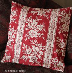 Red & white floral throw pillow