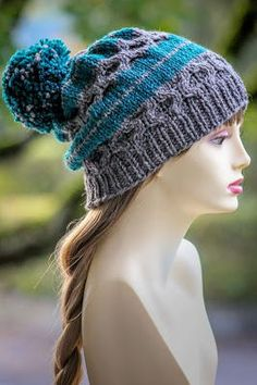 This slouchy knit hat pattern combines cables and simple striping to create a truly unique design.