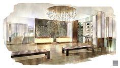 Lobby rendering Durham Hotel, Student Home, Duke University, Lobbies, Contemporary, Dining, Interior, Table, Great Rooms