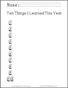 Ten Things I Learned This Year - Worksheet | Fun end-of-year activity. Free to print (PDF file).