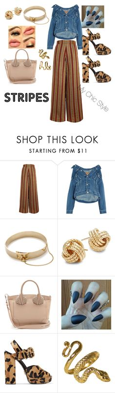 """Stripes"" by mychicstyle1 ❤ liked on Polyvore featuring The Bee's Sneeze, Balenciaga, Eddie Borgo, Saks Fifth Avenue, Christian Louboutin, Prada and Chloé"