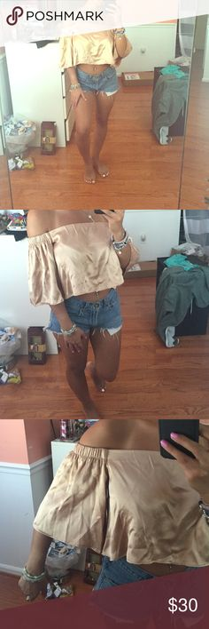 Satin/silk crop top off the shoulder Flowey crop top, bought in Italy, only worn once. Champaign color, wrinkles will be ironed out before being shipped if it does not have a SOLD banner it is AVAILABLE. I don't respond to price comments please use the offer button ❌I DONT TRADE PLEASE DONT ASK❌ Tops Crop Tops