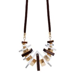 Gold metal plated wood and perspex statement by eFefratezuzJewelry, ₪330.00