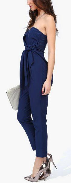 Navy Harem Jumpsuit - it needs strappy sandal heels.