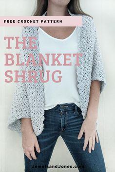 The Blanket Shrug - Free Crochet Pattern - Jewels and Jones Crochet Cocoon, Knit Or Crochet, Crochet Scarves, Cute Crochet, Crochet Clothes, Crochet Sweaters, Crochet Summer, Crochet Tops, Easy Crochet Shrug