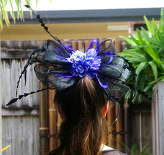 OOAK fascinator Hat Black Sinamay bow with blue silk flower and arow feathers races cup wedding formal on Etsy, $28.79