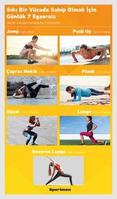 Sıkı Bir Vücuda Sahip Olmak için Günlük 7 Egzersiz! #fitness #egzersiz #jump #pushup #plank #çaprazmekik #squat #lunge