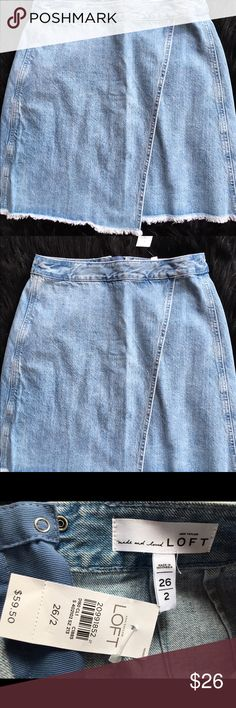 NWT LOFT SOFT DEMIN MINI SKIRT NEW LOFT FRAYED HEM WRAP MINI~ADORABLE! LOFT Skirts Mini