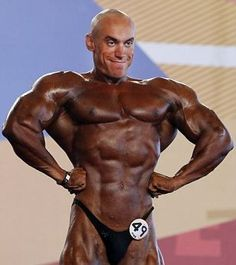 Fake tan fail: A competitor in the Arnold Classic Europe bodybuilding event in Madrid has not exactly done a thorough job.  this is just creepy!