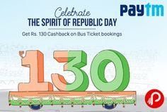 Paytm Republic Recharge Day offers 130 Cashback on Bus Tickets Bookings Rs. 300. Maximum cashback is Rs 130. Minimum order value must be Rs 300. One promo code can be used 2 time​s​ by user. Paytm Coupon Code – REPUBLIC130  http://www.paisebachaoindia.com/bus-tickets-130-cashback-on-300-republic-recharge-day-paytm/