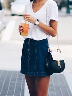 Denim button mini skirt.