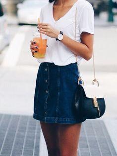 Denim button mini skirt.