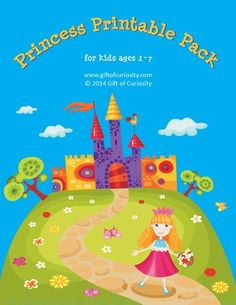 Princess Printables Pack: 74 princess printables and activities for kids ages 2-7 to work on skills such as shapes and sizes, colors, same vs. different, sorting/categorizing, patterning, puzzles, mazes, fine motor, math, and literacy.  #freeprintables    Gift of Curiosity