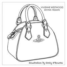 VIVIENNE WESTWOOD-DIVINA YASMIN BAG - Designer Handbag Illustration / Sketch / Drawing / CAD / Borsa Disegno / Product illustrator / Product Design / Illustrazioni Borse  /  styliste sac à main