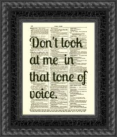 Dictionary Art Print, Dorothy Parker Print, Text Art, Vintage Dictionary Page, Dorothy Parker Quote, Tone of Voice. $10.00, via Etsy.