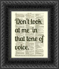Dictionary Art Print, Dorothy Parker Print, Text Art, Vintage Dictionary Page, Dorothy Parker Quote, Tone of Voice. $10.00, via Etsy.
