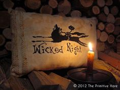 Wicked Night Halloween cross stitch pattern by The Primitive Hare at cottageneedle.com October Sleepy Hollow Headless Horseman by thecottageneedle