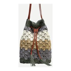 SheIn(sheinside) Color Block Scallop Straw Drawstring Bucket Bag ($15) ❤ liked on Polyvore featuring bags, handbags, shoulder bags, multi, bucket bag purse, colorblock handbags, colorblock purse, straw purse and color block purse