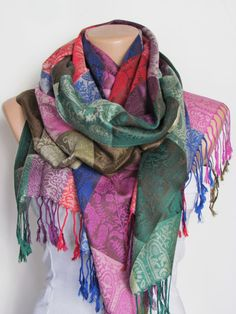 Colorful Pashmina Scarf Oversize Scarf Fall by YADISHACCESSORIES