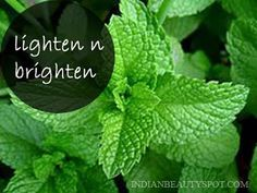 Hyper pigmentation home remedy!  Clean the fresh mint leaves and blend into a fine paste, apply it on your face and wash after 20 mins. * Mint leaves paste is an excellent face pack to lighten and brighten skin. It is also helpful in treating dry skin, acne, pimples and blackheads. * You can also add few drops of honey or lemon juice    #herbs #DIY #beauty #skin #natural