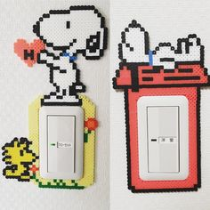 Snoopy light switch frame perler beads by narinaritomoko