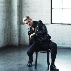 MR Miles Teller for MR PORTER wearing Saint Laurent Biker Jacket, Lanvin Shirt, Trousers and Derby Shoes.
