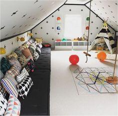 Cool Modern Fun Kids Playroom Design Ideas Will Love Loft Playroom, Loft Room, Playroom Design, Children Playroom, Playroom Ideas, Rooms For Kids, Playroom Seating, Playroom Layout, Small Playroom