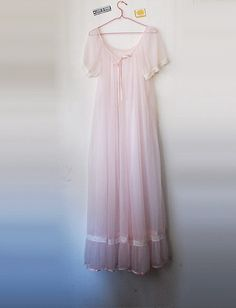 Cult PARTY KEI // Vintage Pastel Pink Peignoir Sheer Lace Nightgown Ruffle Nightie DDLG Lolita Burlesque Lingerie Womens All Size