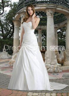 Brilliant A-line Sweetheart Sleeveless Chapel Pick-up Wedding Dresses