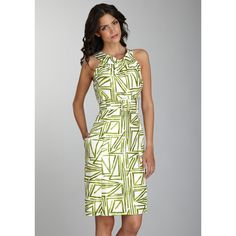 CECES NEW YORK Circle Neck Triangle Print Dress - Front