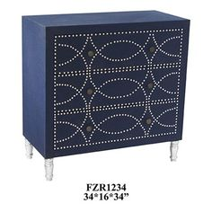 Crestview Collection Cobalt Blue Fabric and Chrome Nailhead 3 Drawer Chest 34*16*34  34*16*34